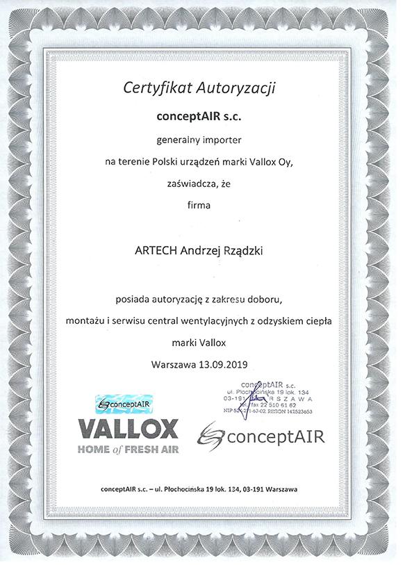 Certyfikat_VALLOX_Artech