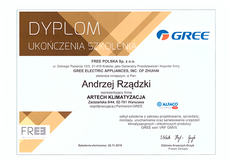 dyplom ukończenia szkolenia VRF marka GREE
