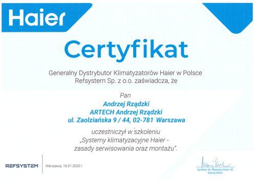 Certyfikat autoryzacji HAIER _20200116