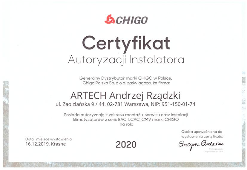 certyfikat autoryzacji CHIGO 2020