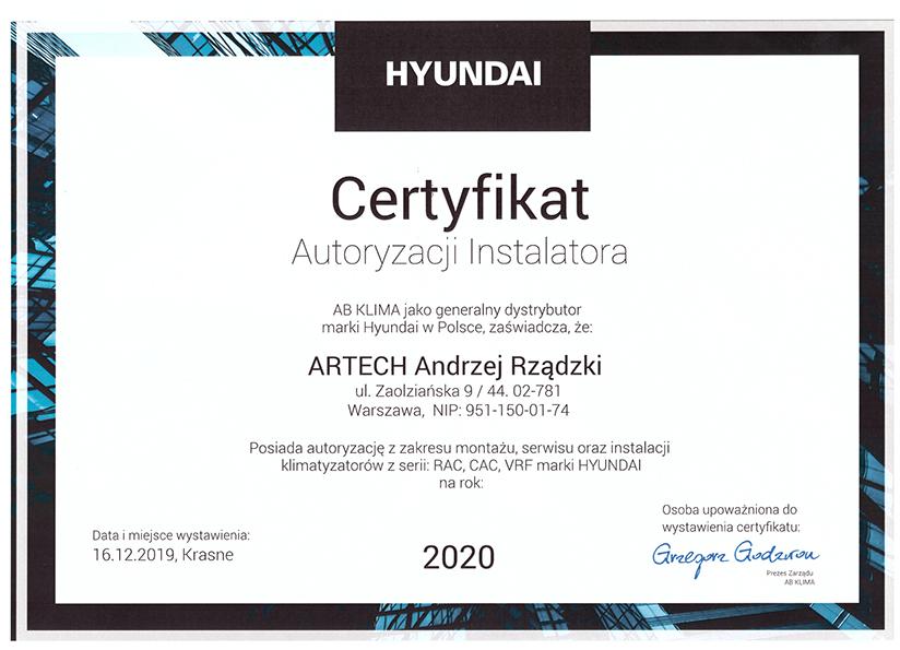 certyfikat autoryzacji HYUNDAI 2020