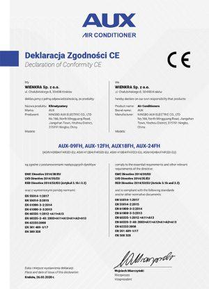 AUX Deklaracja Zgodności CE